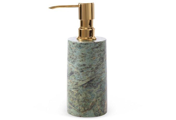 Soap Dispenser, Green w/ Brass Top