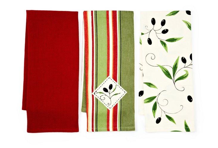 Set of 3 Assorted Olive Dish Towels