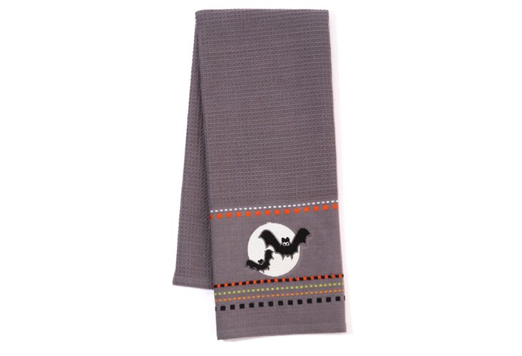 S/2 Bat Embroidered Dish Towels