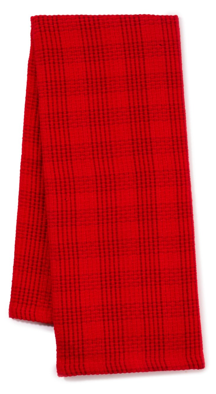 S/3 Plaid Dish Towels, Tango Red
