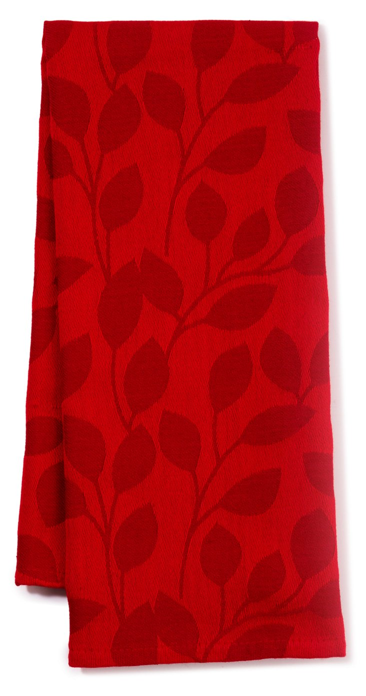 S/3 Vines Dish Towels, Tango Red