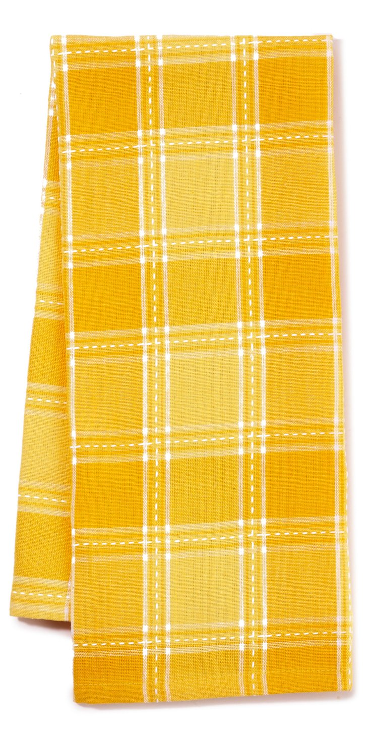 S/3 Dobby Plaid Dish Towels, Daffodil