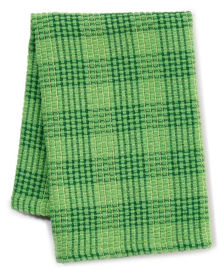 S/6 Plaid Dishcloths, Grass
