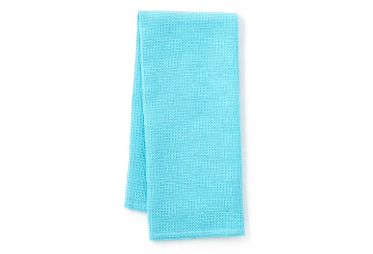 S/2 Waffle Dish Towels, Caribbean Blue