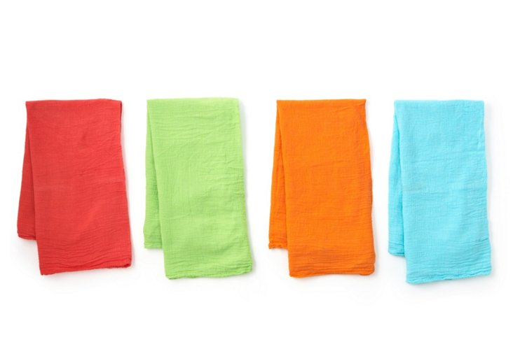 Set of 4 Flour Sacks, Bright