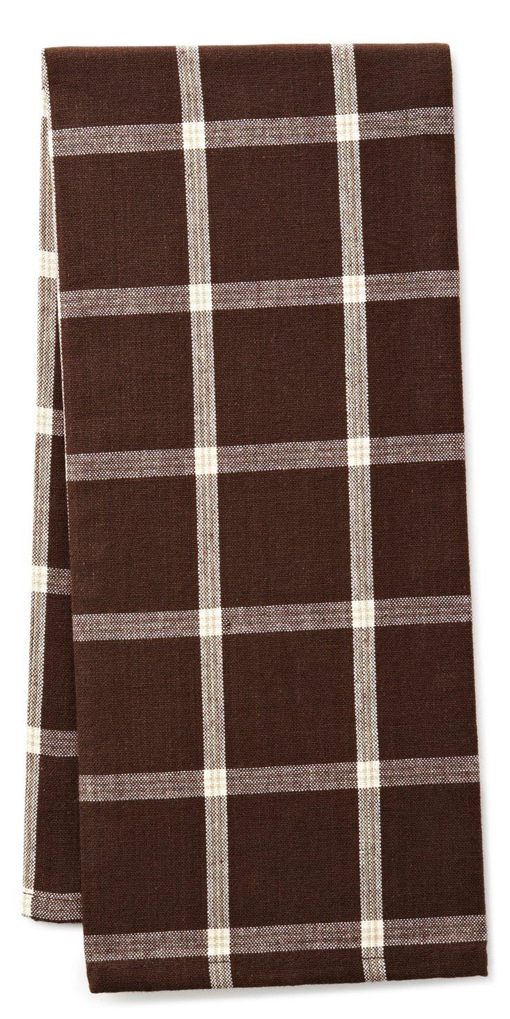 S/4 Windowpane Dish Towels, Truffle
