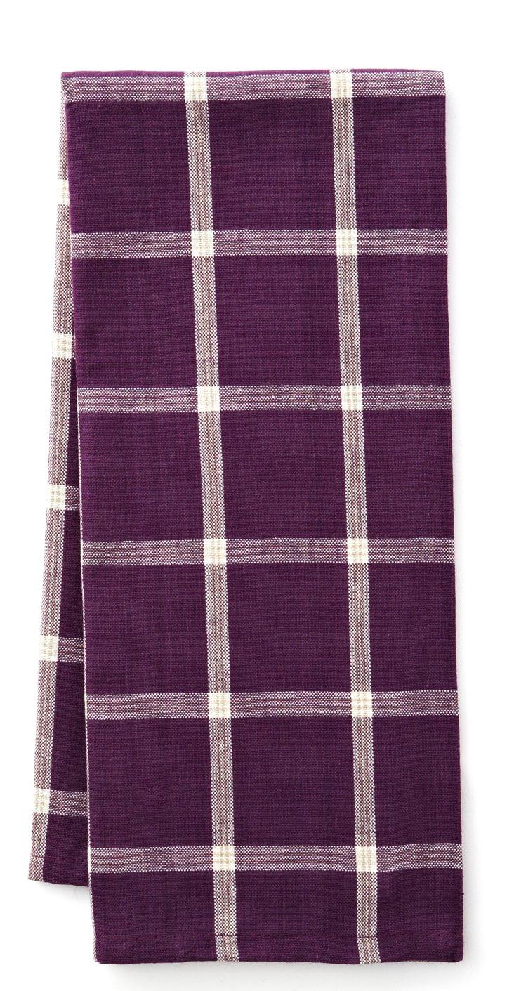 S/4 Windowpane Towels, Eggplant