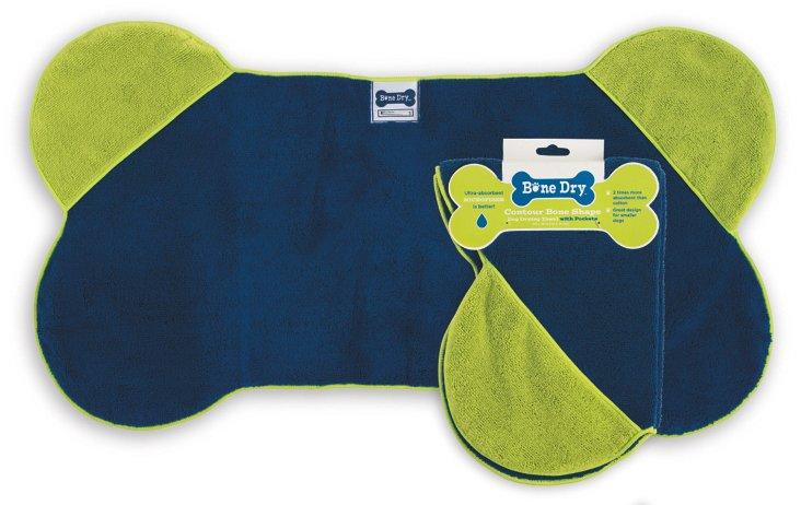 Small Bone-Shaped Pet Towel, Green/Blue