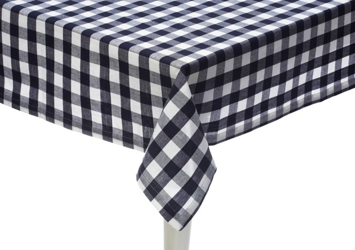 Navy Gingham Tablecloth
