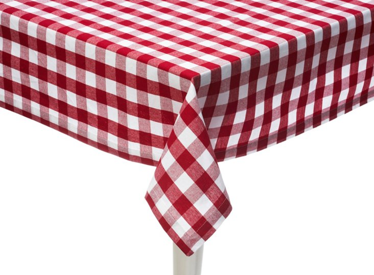 Rectangle Check Tablecloth, Red
