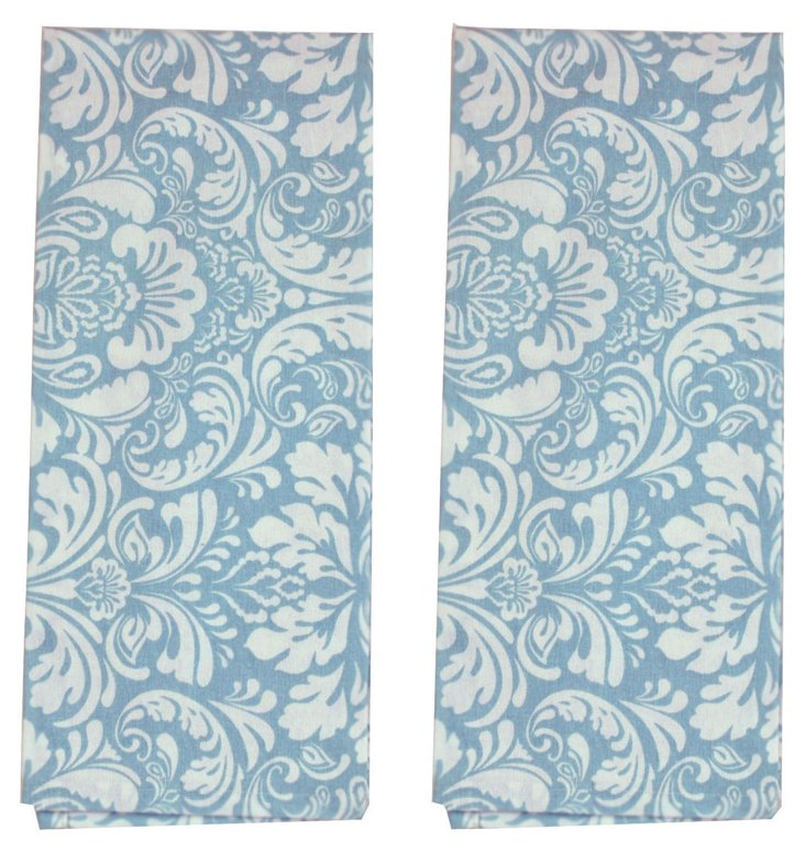 S/2 Damask Dish Towels, Cerulean