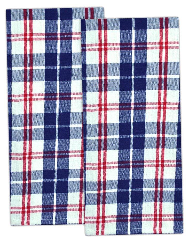 S/2 Plaid Tea Towels, Liberty
