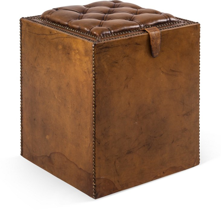 Tufted Leather Stool