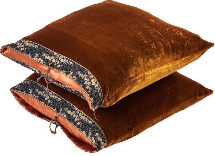 Vintage Copper & Navy Throw Pillow, Pair