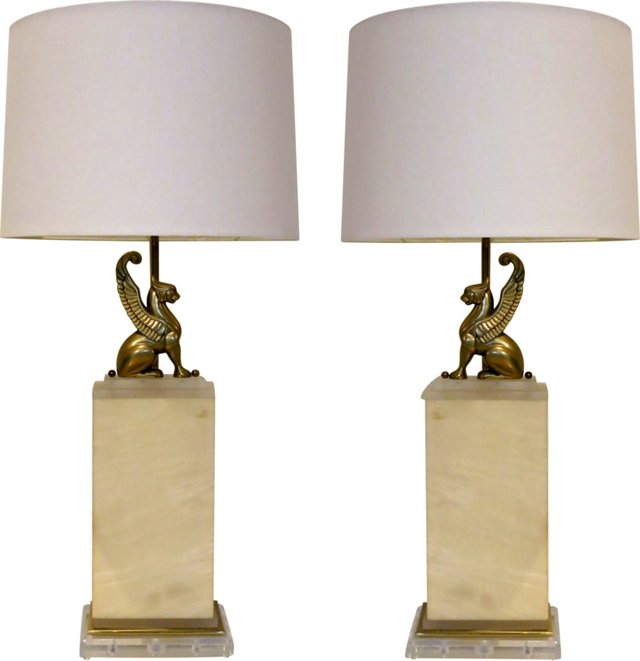 Dramatic Gryphon Lamps, Pair