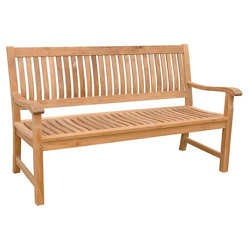 """Julia 59"""" Outdoor Bench, Teak"""