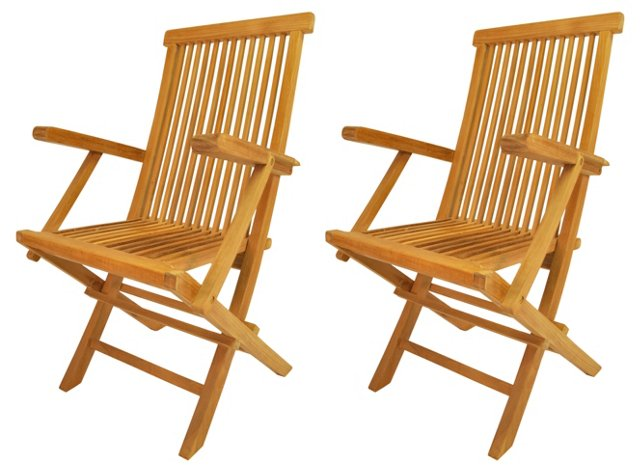 Classic Folding Armchairs, Pair
