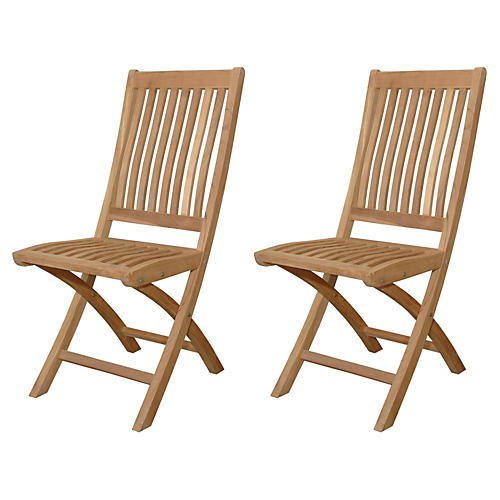Tropico Folding Chairs, Pair