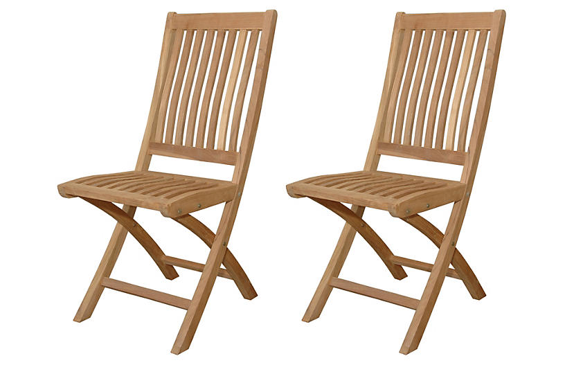 Tropico Folding Chairs, Pair