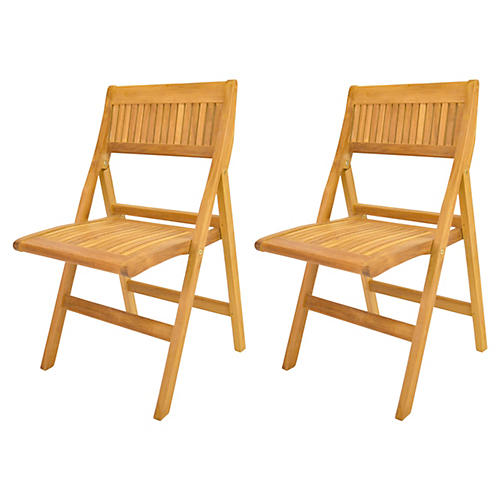 Windsor Folding Chairs, Pair