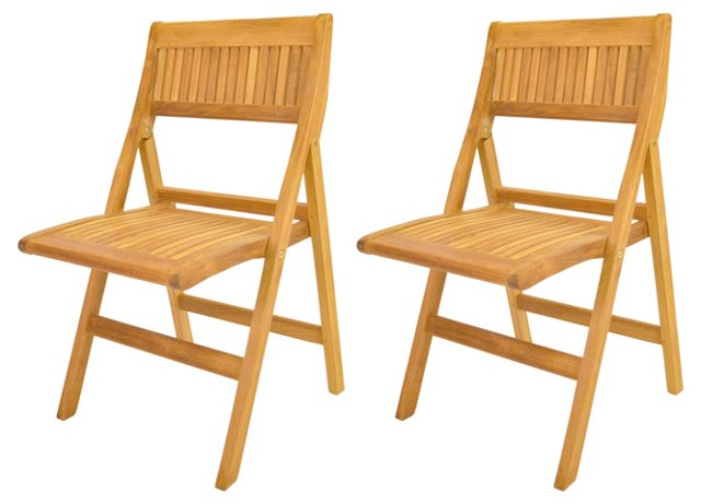 Windsor Folding Chairs, Pair