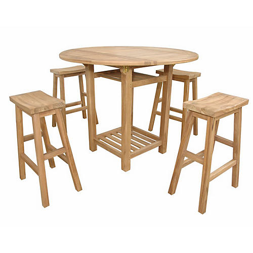 Seacrest Alpine 5-Pc Counter Table Set, Natural