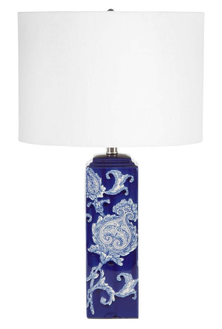 Cara Table Lamp, Blue/White