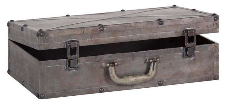 "20"" Metal Suitcase Box, Silver"