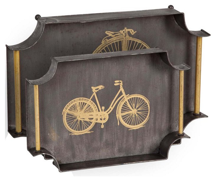 Asst. of 2 Bicycle Trays, Black/Gold
