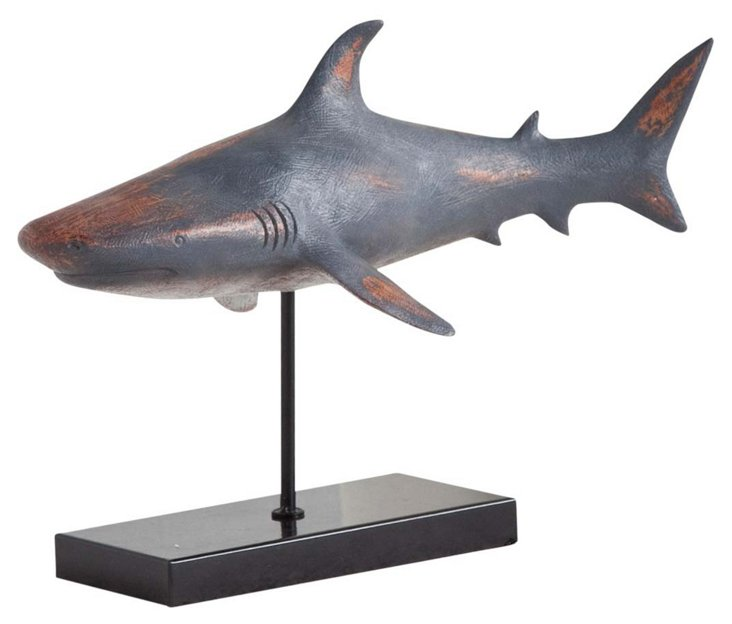 "17"" Shark Figurine, Blue"