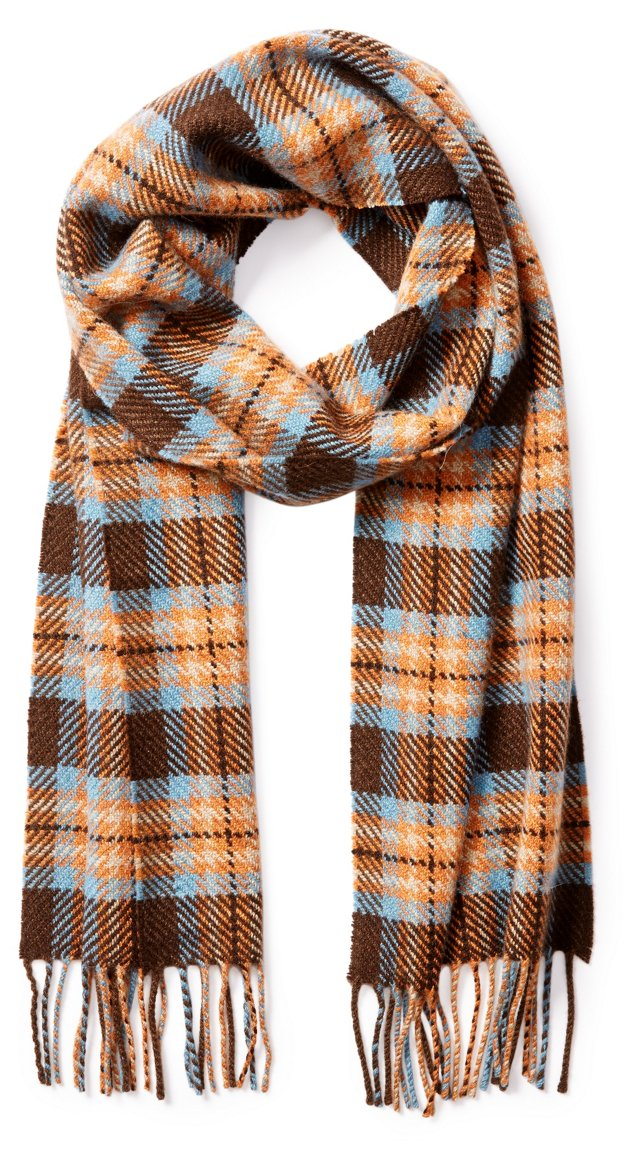 Drake's Tweed Twill Scarf, Brown/Blue