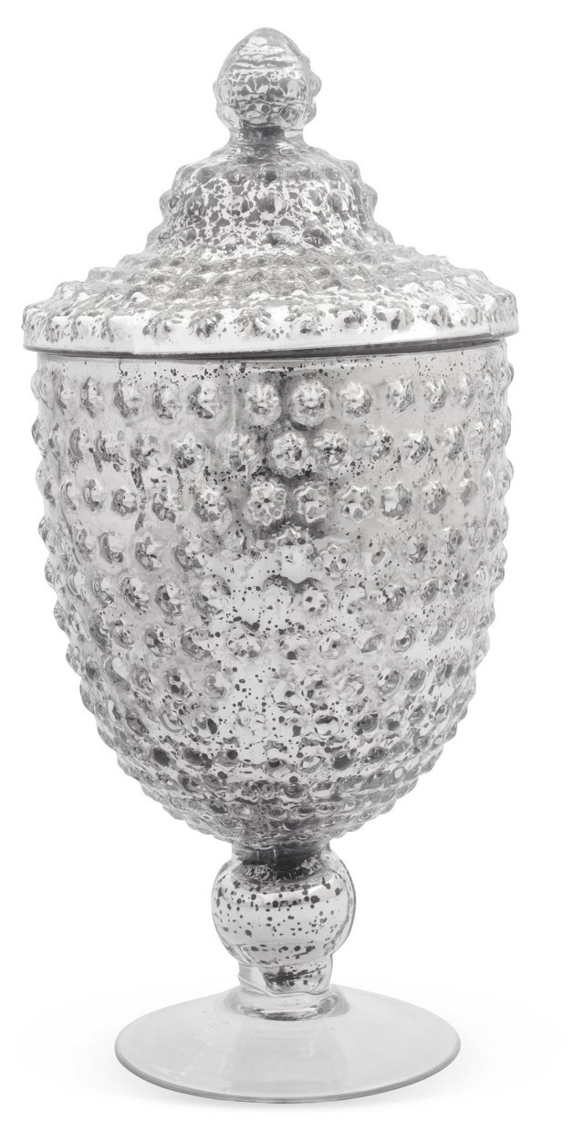 "14"" Apothecary Jar, Antiqued Silver"