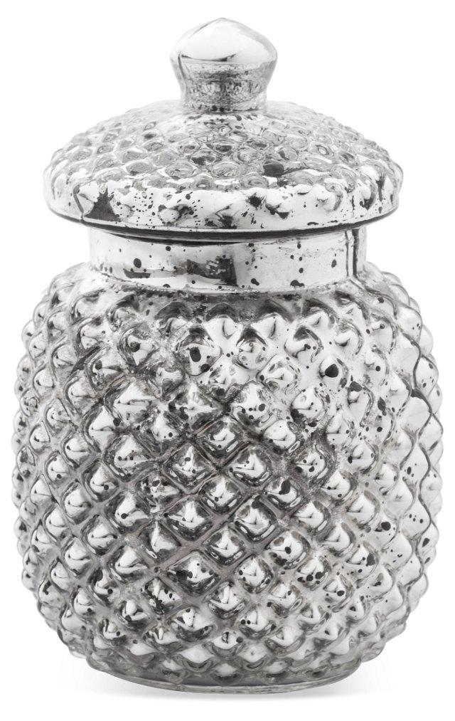 "5"" Hampshire Glass Jar, Silver"
