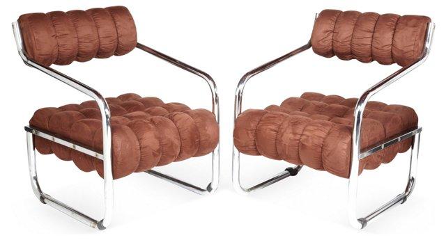 Chromed Modernist Armchairs, Pair