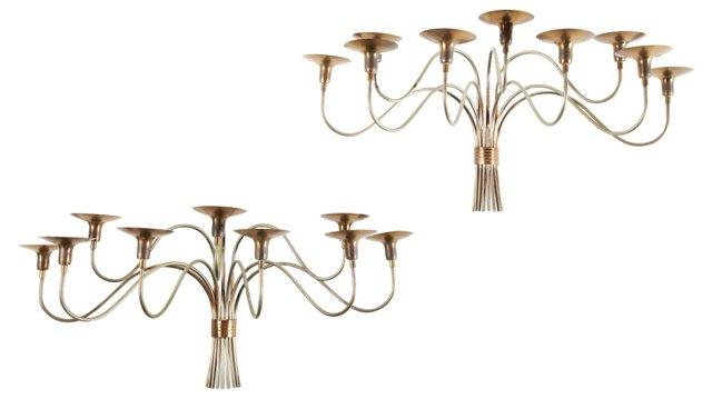 Elegant Brass Candelabras, Pair