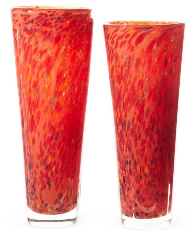 Sculptural Handblown Glass Vases, Pair
