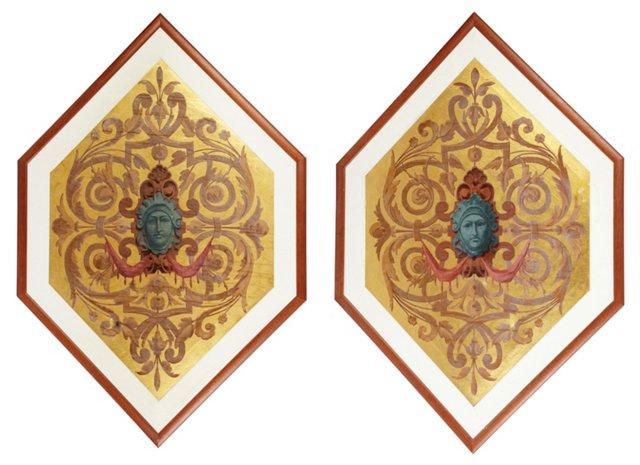 Venetian Wall Panels, Pair