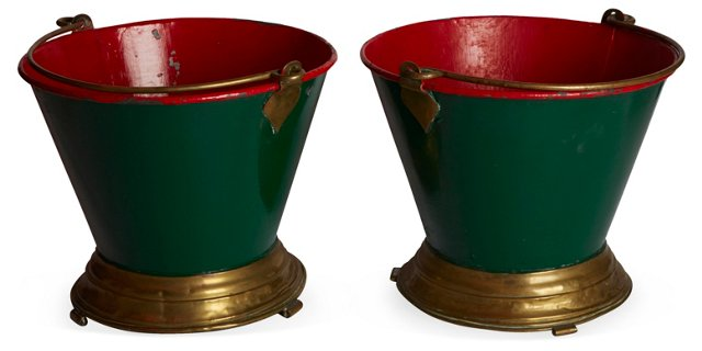 Brass-Trimmed Milking Pails, Pair