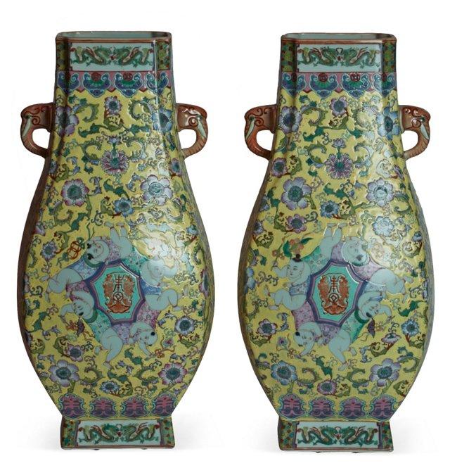 Vintage Chinese Porcelain Vases, Pair