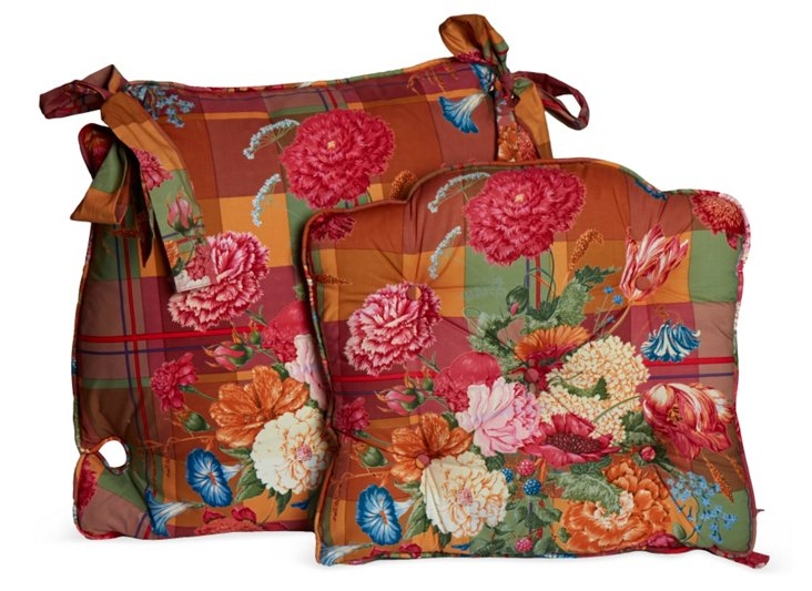 Floral Seat Covers, Pair