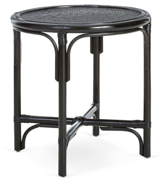 Kelsey Rattan Side Table, Black