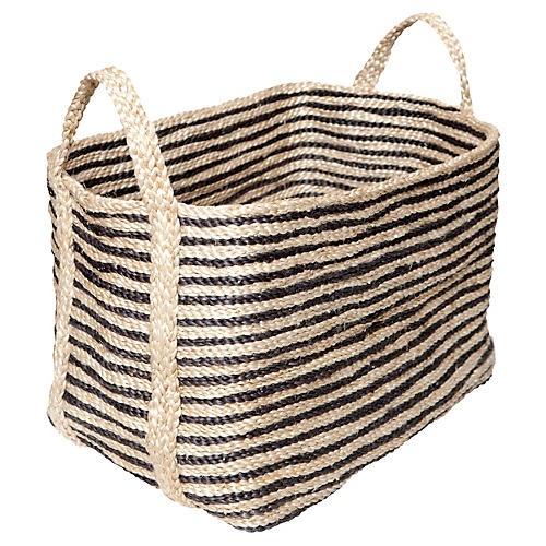 Large Jute Floor Basket, Charcoal Stripe