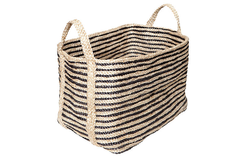 Large Jute Floor Basket, Charcoal Stripe