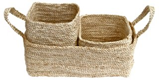 Trio of Jute Storage Baskets