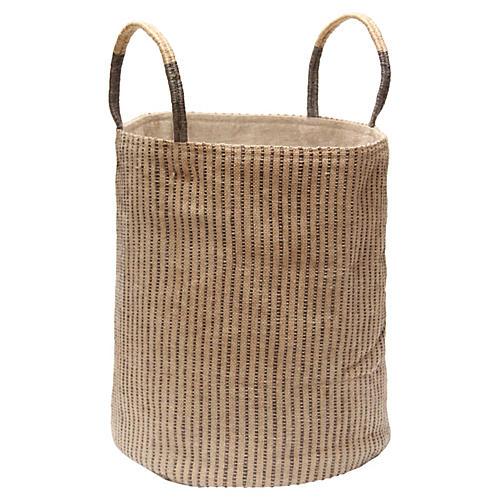 Loomed Basket, Gray Stripes