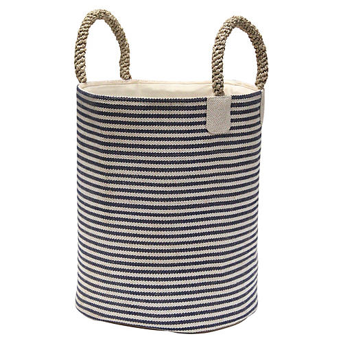 "19"" Pacific Laundry Thin Stripes Basket, Blue"