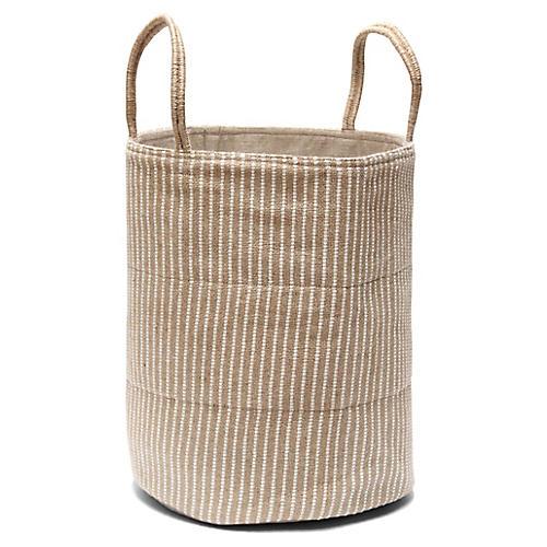 """19"""" Loomed Basket, White Stripes"""