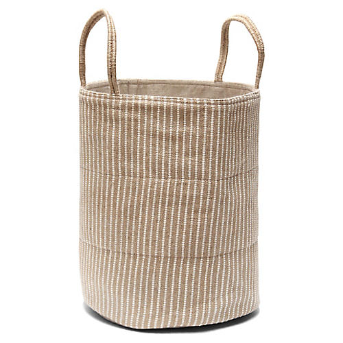 "19"" Loomed Basket, White Stripes"