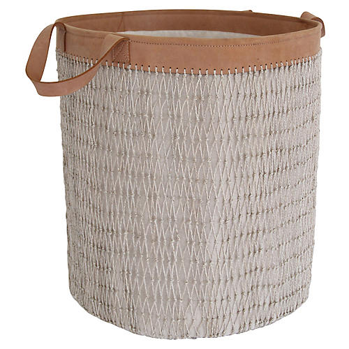 "19"" Knotted String Basket, Gray/Cinnamon"