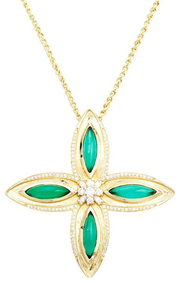 18K Drew Necklace, Emerald/Diamonds